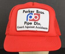 Parker Brothers Pipe Division Red Mesh Trucker Baseball Hat Cap Adjustable