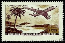 CHILE, REGULAR FLY BETWEEN SANTIAGO DE CHILE, EASTER ISLAND AND TAHITI, MNH