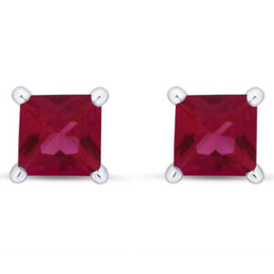 Princess Simulated Ruby Stud Earrings Birthstone 14K White Gold Over Silver