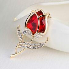 Elegant Red Brooch Flower Glass Brooches Brooch Tulip Brooches Rhinestone