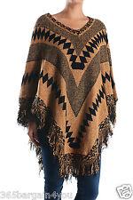 Women's Long Knitted Fringe Trim Sweater Poncho Cape Shawl Wrap (PH15P95)