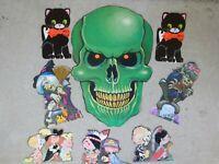 Vintage Set HALLOWEEN Die Cut Velvet, Skull, Cat, Trick or Treat, Witch, Wolf