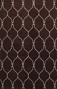 Contemporary Trellis Oriental Area Rug Hand-Tufted Wool 9x12 Living Room Carpet