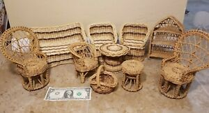 Vintage Wicker Rattan Barbie Size Furniture Chairs Tables Patio And Baskets Lot