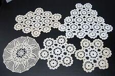 5 Pc Handmade Crochet Doily Doilies 9-14 Inch Good Shape Grandma's Lot B