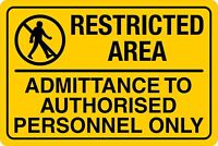 Restricted Area Authorised Personnel Only Vinyl & Rigid Sign Board 20cm x 30cm