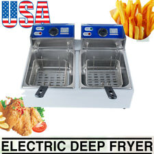 Us Electric 16L Dual Tanks Deep Fryer Commercial Tabletop French Fryer Fast Food