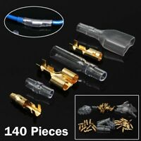 140Pcs Car Brass Copper 3.9mm Crimp Electrical Connector Wire Terminal Kit