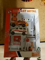 Vintage Diecast Metal Force rescue department set, new in box
