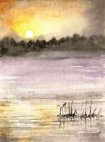 ACEO sunset river  landscape original painting art card signed