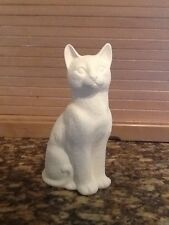 CERAMIC BISQUE- LARGE SHORT HAIR CAT OR KITTEN  REALISTIC Sitting DOWN