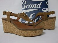 Lucky Brand Size 8 M Narnie Bombay Leather T Strap Wedges New Womens Shoes