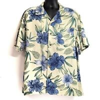 Caribbean Joe Mens Short Sleeve Shirt Floral Hawaiian Button Down Size L