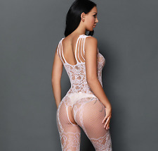 UK Women Sexy Corset & Suspender Garters Effect Bodystocking Lingerie Size 6-12