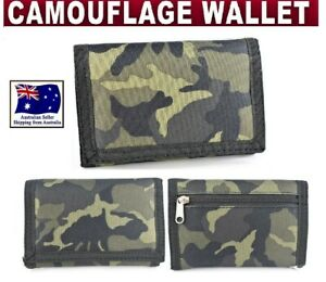 CAMOUFLAGE MENS BOYS SURF TRIFOLD SPORTS WALLET CANVAS VELCROW CAMO ARMY
