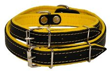 Real Leather DOG COLLAR Glossy Black with COLORFUL FELT LINING Handmade