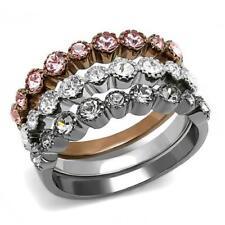 Stainless Steel Light Black & Coffee IP Top Grade Crystal Women Ring 5-10 TK3136