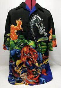 Marvel Comics Vintage 2002 Men's Avengers Print All Over Button Up Shirt Large