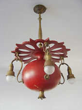 Rare ART NOUVEAU ArtDeco CHANDELIER Ceiling Lamp GRANATE APPLE ca. 1900 BERLIN