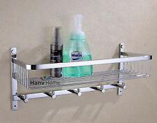 Bathroom SUS304 Stainless Steel Shower Shelf Caddy Basket Storage with Robe Hook