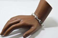 Luxury Attento Brand 18k Solid White Gold Synthetic Diamond Statement Bracelet