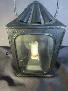 Antique 1800s TIN OIL LANTERN LAMP 3 Window Orig Glass Railroad Carriage Ship