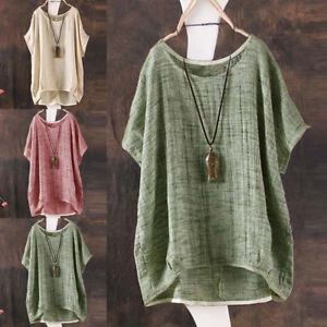 Ladies Summer T Shirt Batwing Sleeve Loose Linen Travel Blouse Top Tee Plus Size