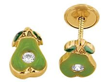 Children's Avocado Screw Back Stud Earrings in 14K Solid Yellow Gold (unplated)