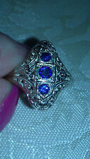 14K Art Deco Filigree  3 Stone Sapphire Cocktail Ring