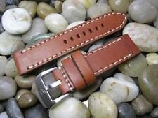 24 mm Alfa Thick Tan / White Distressed Rustic Leather Watch Band strap mens