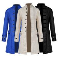 Mens' Long Sleeve Jacket Coat Velet Jacquard Steampunk Long Windbreaker Overcoat