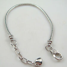 1pcs Snake Chain 20cm P Silver Plated Charm Bracelets Fit European Beads su9z
