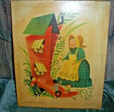 Penn Prints Old Woman Who lived in a Shoe on Wood Board Nursery Rhymes Vintage 1