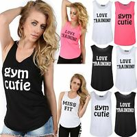 Women Top Ladies Sleeveless Slogan Love Training Miss Fit Sports Gym Edging Vest