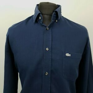 Lacoste Mens Shirt OXFORD 42 (LARGE) Blue Classic No Pattern Cotton