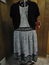 NWT Womens 16 R&K Originals 2pc Black/White Dotted Dress w Short Jacket