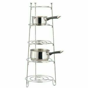 5 Tier Kitchen Pan Shelf Pot Saucepan Storage Organise Rack Holder Free Standing