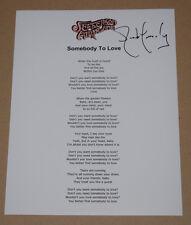 Jack Casady Signed Autographed SOMEBODY TO LOVE Lyric Sheet Jefferson Airplane