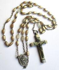 Ancien Chapelet de main perles de nacre croix gravée couleur argent bijou 2836