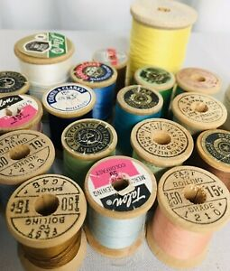 Vintage Lot Of 22 Wooden Spool Thread Corticelli Talon Coats & Clarks Lily Star