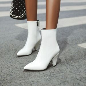 Women Pointy Toe Cone Heel Ankle Boots Patent Leather Nightclub Shoes Boots Sexy