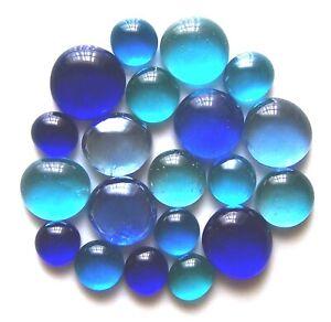 20 x Oceans of Blue Mosaic Pebbles Art Glass Gem Stones - Assorted Sizes