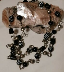 """Vintage Lampwork Bead Necklace Silver Black and White Swirl X Long  34"""""""