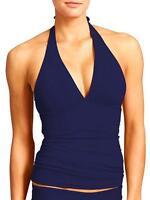 Athleta Shirrendipity Halter Tankini Swimsuit  Top Dress Blue  NWT M Medium