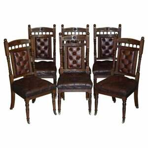 SIX BROWN LEATHER & OAK ANTIQUE VICTORIAN CHESTERFIELD DINING CHAIRS RESTORATION