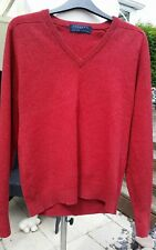 """MENS HODGSON OF SCOTLAND PURE NEW WOOL RED JUMPER UK 46"""" CHEST MED.  VGC"""