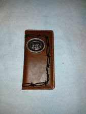 Men's Wallet Check book with HORSE and Cross Praying Cowboy #727 Coffee Color