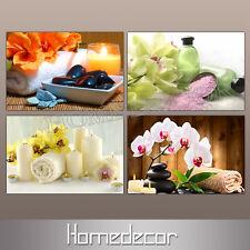 4pcs/set HD Canvas prints picture painting Spa Nail Foot Flower Massage Salon