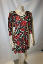 New Ladies Red Floral Stretchy Dress Size 8 Club L Tied Back Unusual