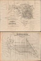 FERRARA-TOPOGRAFIA DELLE VALLI FERRARESI E COMACCHIESI-DUE TAVOLE-1863-L1746